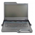 18.5-inch LCD Console Tray with analog 16-port KVM, integrated keyboard, touch pad